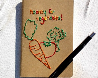 Hand-Embroidered Diet Journal, Hooray for Vegetables, Health Log, Cooking Notebook
