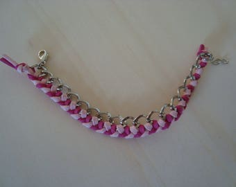 Bracelet fuschia and light pink, braided chain