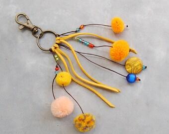 Handmade Yellow Pom Pom Faux Suede Keychain