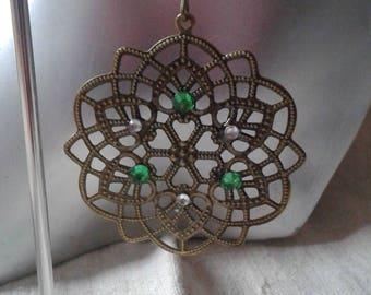 green floral earrings