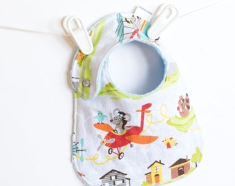 Baby Boy Bib, Adjustable Bib with Minky in Little Flyers