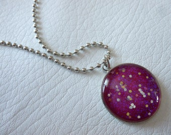 Necklace cabochon pink iridescent blue silver glitter