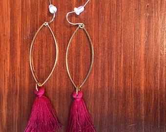 Oval Brass Earrings - Pendant Red Wine Tassels
