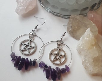 Amethyst pentagram hoop earrings - Boho, Witchy, stones, alternative, goth, gothic, romantic, stone,  Equinoxart