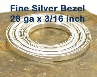 "28ga x 3/16"" Plain Bezel - Fine Silver - Choose Your Length"