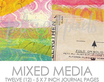 Mixed Media Digital Junk Journal Printable Pages Paper Pack