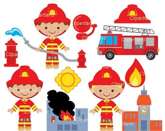 ON SALE INSTANT Download. Firefighter clip art. Cfir_5. Personal and commercial use.