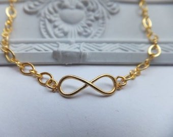 Gold and Infinity Bracelet - 16k gold plated tarnish resistant with antique gold plated infinity charm