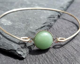 Green Aventurine Gemstone Bangle Bracelet, 925 Sterling Silver Bangle Bracelet, Aventurine Gemstone Jewelry, Amazonite Bangle Bracelet