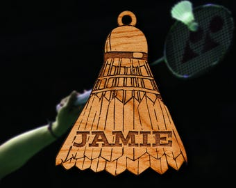 Wooden Badminton Ornament
