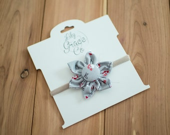 Grey and Red Floral Flower Bow Headband Hair Accessories Nylon Headband Clips Piggie Clips pigtails