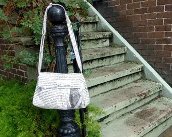 Bird Messenger Bag, Tea Stained, Adjustable Strap, Key Fob