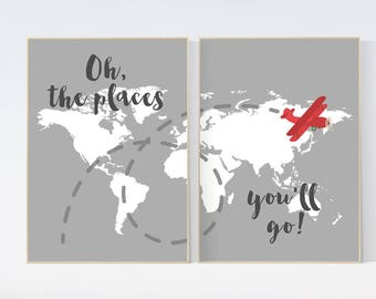 Oh the places you'll go, gray nursery decor, travel nursery decor, World Map wall art, world map nursery, navy gray nursery, grey nursery
