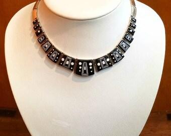 Native American Navajo Handmade Sterling Silver Black Onyx Inlay Choker Necklace Set by Calvin Begay