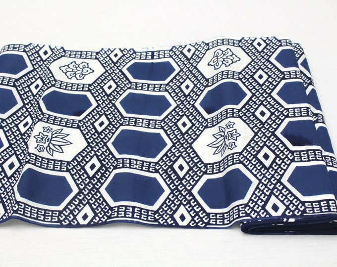 Japanese Artisan Cotton. Vintage Yukata Bolt. Blue Indigo Katazome Stencil Design. Hand Dyed(Ref: 1695)