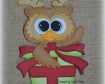 Owl with a Christmas present Premade Scrapbooking Embellishment Paper Piecing