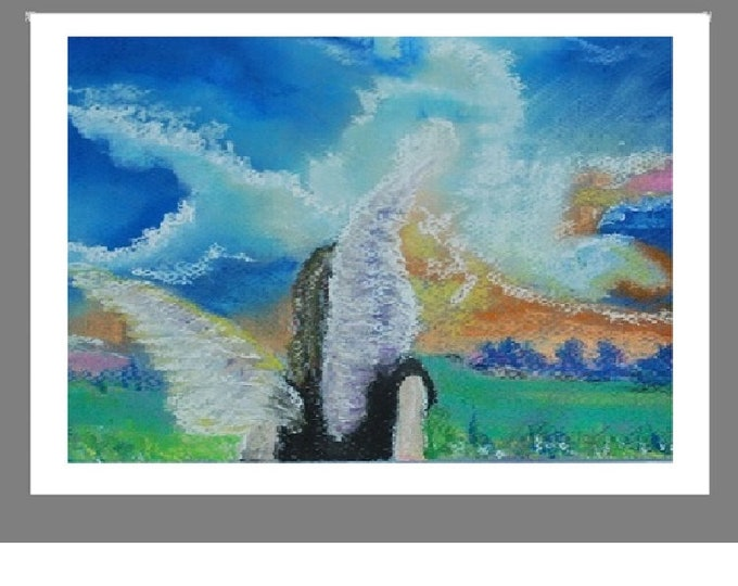 """PRINT of  Original Pastel Painting, Angel Artwork Home Decor, """"Angel Stirs the Clouds"""""""