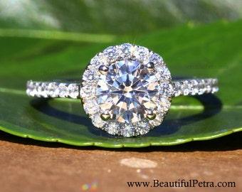 14k White gold - Diamond Engagement Ring - Halo - 3/4 carat center - Pave - Weddings- Luxury- Brides - Bp005