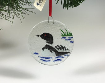 Loon Ornament, Fused Glass Loon, Suncatcher, Birds, Bird Ornament, Glass Ornament, Loons