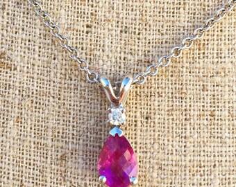 14K White Gold Pear-Shape Pink Tourmaline And Diamond Necklace