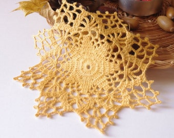 Small orange crochet doily Crocheted mustard lace doilies Small cotton crochet doilies 148