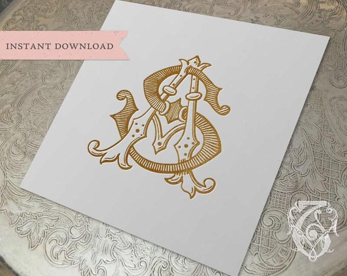Vintage Wedding Duogram SA AS Monogram Digital Download  A S