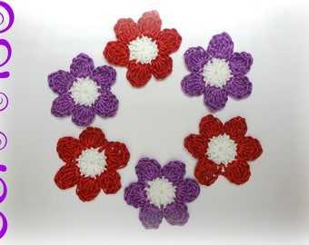 """applied 6 crochet flowers red white and plum 4.5 cm (1,57 """")"""