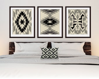 Navajo Indian inspired Geometric Patterns (Series F3) Set of 3 - Art Prints (Featured in Gravel, Black on Tan Stone) Botanical Print Set