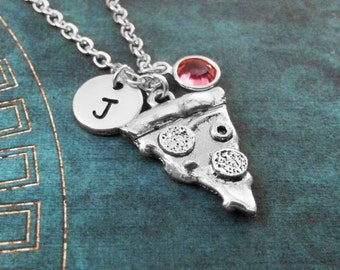 Pizza Necklace Silver Pizza Jewelry Pepperoni Pizza Gift Birthstone Necklace Pizza Slice Necklace Pizza Charm Necklace Bridesmaid Necklace