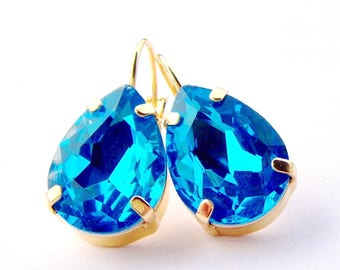 Blue rhinestone teardrop leverback earrings / Gold / Pear shape rhinestone earrings / Gift for her / Aqua blue earrings