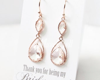 Rose gold clear long earrings, Rose gold dangle earrings, Rose gold wedding earrings, Rose gold bridal earrings, Rose gold jewelry,