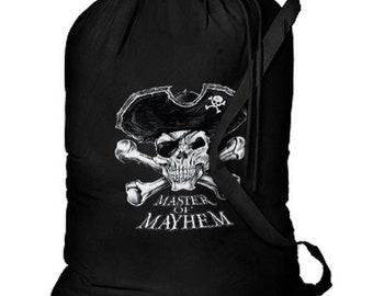 Master of Mayhem Pirate New Cotton Laundry Bag, Camping, Duffle, Travel, Tote