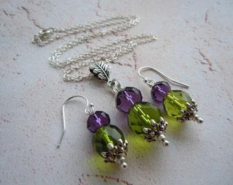 Scottish Thistle, Flower of Scotland, Necklace Earring Set, Scottish Jewelry, Bride Gift, Wedding Jewelry, Scottish Gift, Outlander