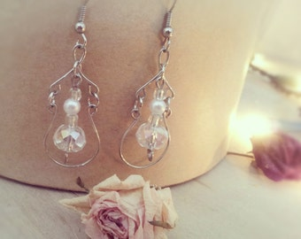 Silver Dangly Handcrafted Wire Wrapped Earings with Glass crystal beads and glass pearls