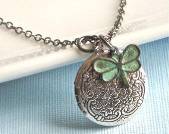 Small Locket Necklace - Dragonfly, Silver Locket, Verdigris Patina