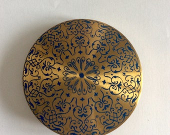 Large, Round, Vintage,Blue and Gold Tone, Compact Mirror