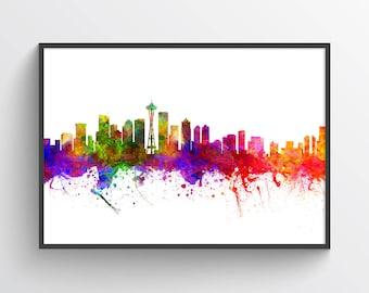 Seattle Skyline Poster, Seattle Art Print, Seattle Decor, Seattle Print, Home Decor, Gift Idea, USWASE02P