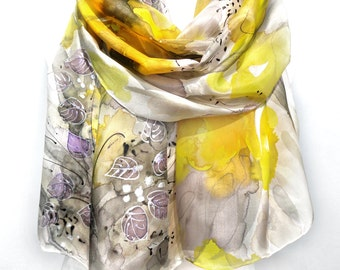 Tulips Hand Painted Scarf. Woman Birthday Gift. Yellow Silk Shawl. Anniversary Gift. Wearable Art. Silk Painting. 18x71in MADEtoORDER