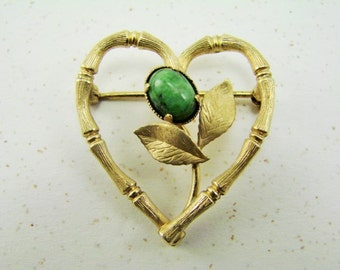 Vintage Jade and Gold Filled Bamboo Heart Brooch -- CR CO Heart Pin -- Romantic