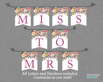 Bridal Shower Banner Printable Downloadable Floral With ALL Letters Numbers