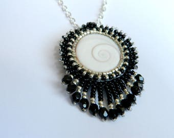 Eye of Saint Lucia and beading, black and silver necklace