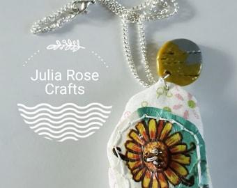 Handmade sunflower stuffed embellished pendant necklace