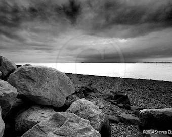 Storm Art, Stormy Beach Scene, Landscape Photo, Greenwich Connecticut