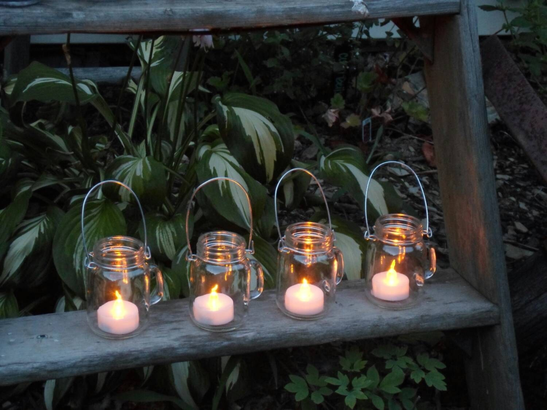 Set of 4 mini mason jar mugs with tea lights outdoor lighting zoom mozeypictures Images
