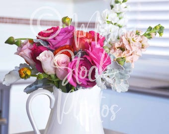 Flowers in a jug photo | Flower stock photography | Flowers image | Floral stock photo | Floral arrangement | Flower photograph