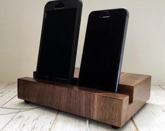 Handmade iPhone stand, walnut iPad stand, docking station, iPad dock, iPad Pro stand, ipad mini, phone charging stand, simple modern design.