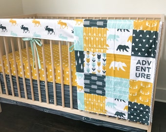 Baby Bedding Yellowstone Set 2 - Woodland Bedding - Mustard Crib Sheet - Bear Crib Bedding - Teal Bedding - Arrow Crib Bedding -Crib Blanket