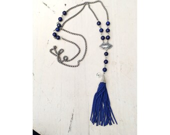 Turiya (LAPIS) - a commanding blue lapis and silver seeded tassel necklace for the spiritually Boheme