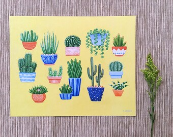 Cactus and Succulent Art Print, 8 x 10 Art Print