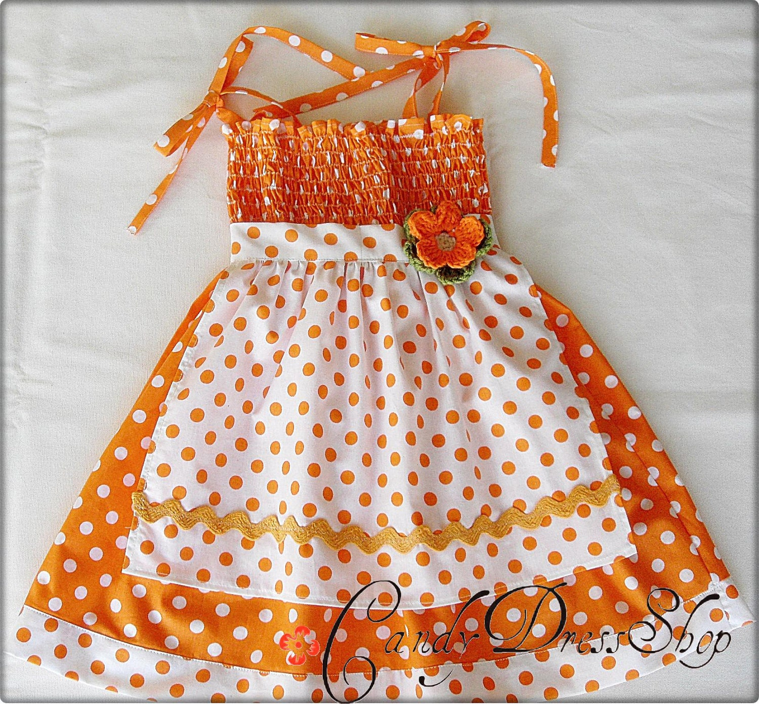 Orange and white polka dot APRON dress for little girls